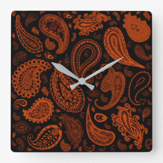 Relógio Quadrado Paisley na oxidação por Julie Everhart