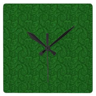 Relógio Quadrado Paisley verde