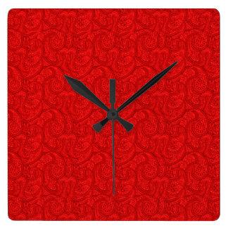 Relógio Quadrado Paisley vermelho