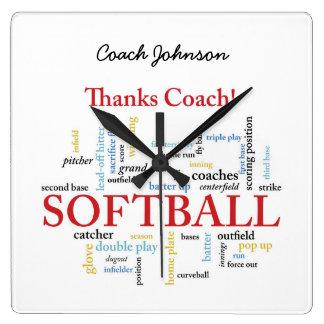 Relógio Quadrado Palavras do treinador do softball dos obrigados do