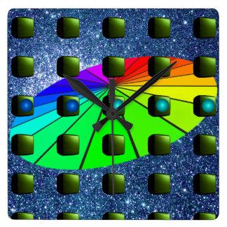 Relógio Quadrado Paleta criativa estranha do arco-íris de Sci Fi