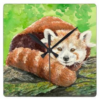 Relógio Quadrado Panda vermelha
