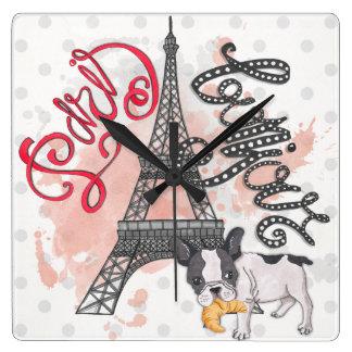 Relógio Quadrado Paris Bonjour