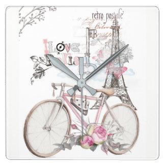 Relógio Quadrado Paris no vintage cor-de-rosa