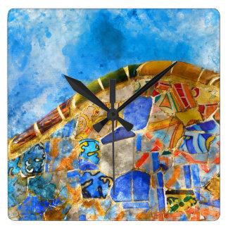 Relógio Quadrado Parque Guell na espanha de Barcelona