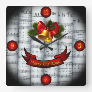 Relógio Quadrado Partitura rolada ~ do Natal de Bell~ Holly~Ribbon