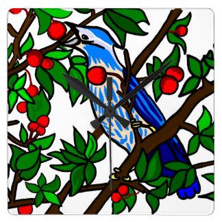 Relógio Quadrado Pássaro do azul da árvore de cereja