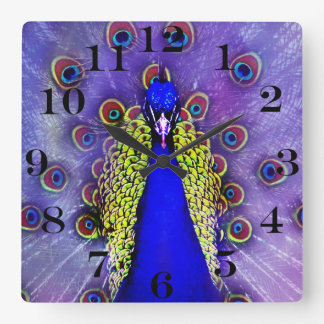 Relógio Quadrado Pássaro Pastel do azul de pavão