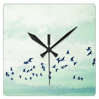 Relógio Quadrado Pássaros em vôo