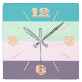 Relógio Quadrado Pastel colorido