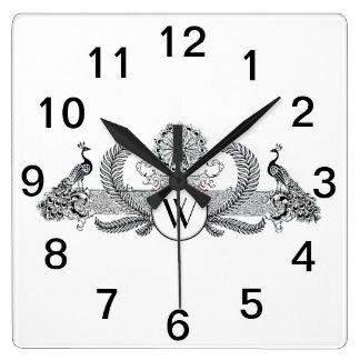 Relógio Quadrado Pavões do vintage com monograma
