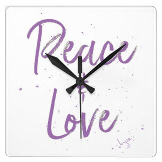 Relógio Quadrado Paz-e-Amor-Roxo