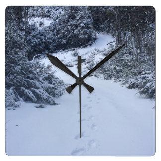 Relógio Quadrado Pegadas da neve