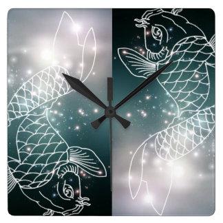 Relógio Quadrado peixes do zodíaco da astrologia do zodíaco da