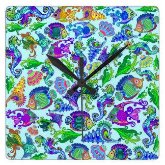 Relógio Quadrado Peixes exóticos & cavalos marinhos da vida marinha