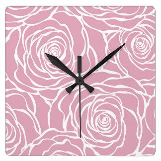 Relógio Quadrado Peônias, floral, branco, cor-de-rosa, teste