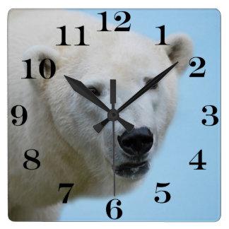 Relógio Quadrado Perfil dos ursos polares