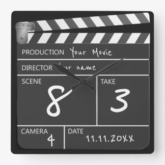 Relógio Quadrado Personalizado de um filme amável Clapperboard