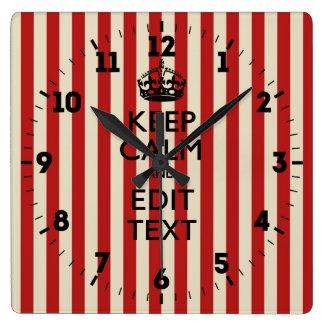 Relógio Quadrado Personalizado mantenha a calma suas listras da