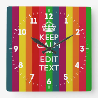 Relógio Quadrado Personalizado mantenha a calma suas listras do