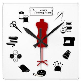 Relógio Quadrado Personalize a etiqueta Sew certo