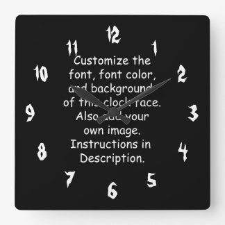 Relógio Quadrado Personalize a pia batismal, cor da pia batismal,