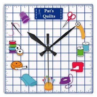 Relógio Quadrado Personalize o tempo da edredão da etiqueta