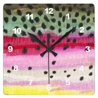 Relógio Quadrado Pesca com mosca da truta de arco-íris, ictiologia