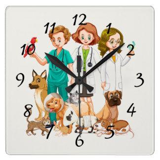 Relógio Quadrado Pessoas veterinárias do fundo