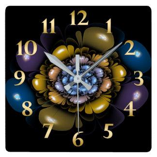 Relógio Quadrado Pétalas roxas da cerceta do ouro