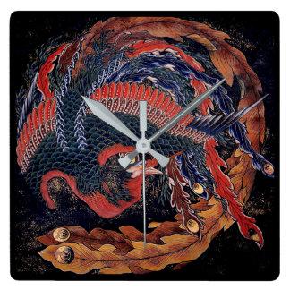 Relógio Quadrado Phoenix por Hokusai - mãos de pulso de disparo