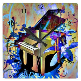 Relógio Quadrado Piano Funky