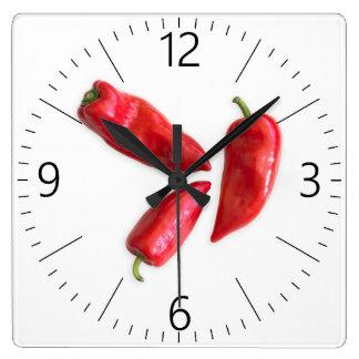 Relógio Quadrado Pimenta vermelha