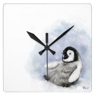 Relógio Quadrado Pinguim do bebê que desliza o pulso de disparo de