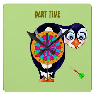 Relógio Quadrado Pinguim do dardo pelos Feliz Juul Empresa