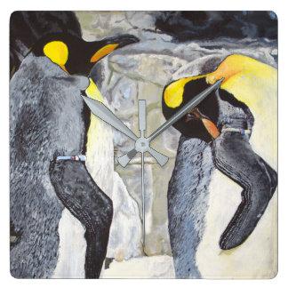Relógio Quadrado Pinguins de imperador no gelo