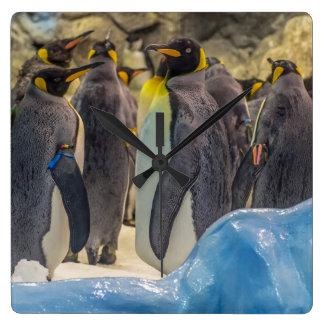 Relógio Quadrado Pinguins no pulso de disparo de parede do quadrado
