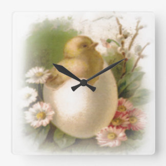 Relógio Quadrado Pintinho novo da páscoa