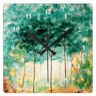 Relógio Quadrado Pintura abstrata da floresta das árvores da arte