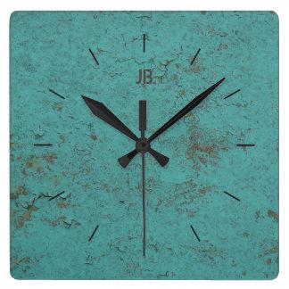 Relógio Quadrado Pintura azul   flocoso INDUSTRIAL mais a rotulação