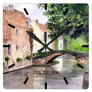 Relógio Quadrado Pintura da aguarela de Bruges pelo Greenfield de