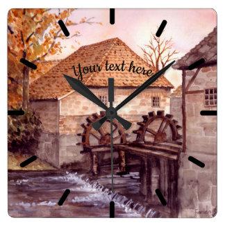Relógio Quadrado Pintura da aguarela de Watermill pelo Greenfield