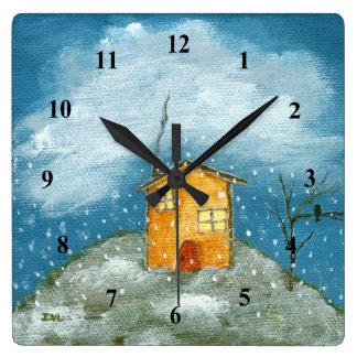 Relógio Quadrado Pintura lunática da arte popular da árvore da