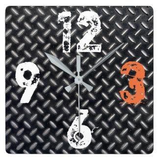 Relógio Quadrado Placa de metal industrial customizável da
