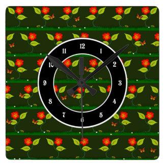 Relógio Quadrado Plantas e flores