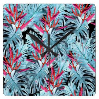 Relógio Quadrado Plantas tropicais 1.