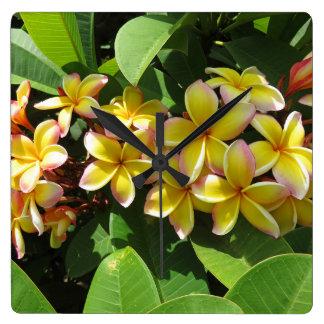 Relógio Quadrado Plumeria havaiano