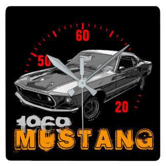Relógio Quadrado Poder mecânico do mustang
