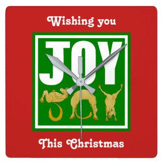 Relógio Quadrado Pôneis do Natal da alegria