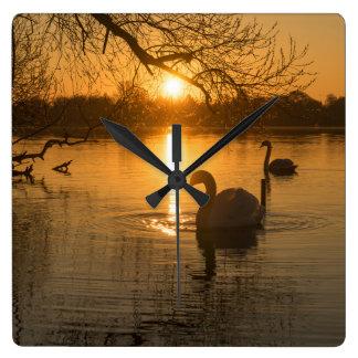 Relógio Quadrado Por do sol com cisne